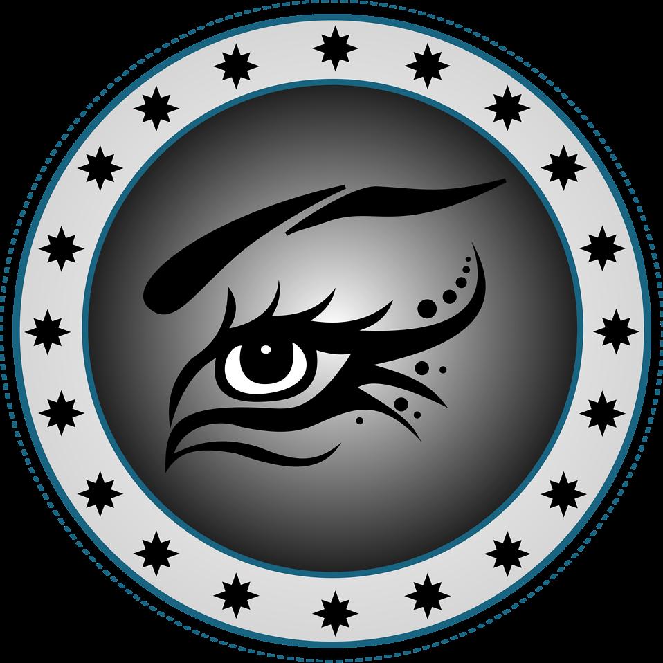 Illustration of an eye in a circular border : Free Stock Photo