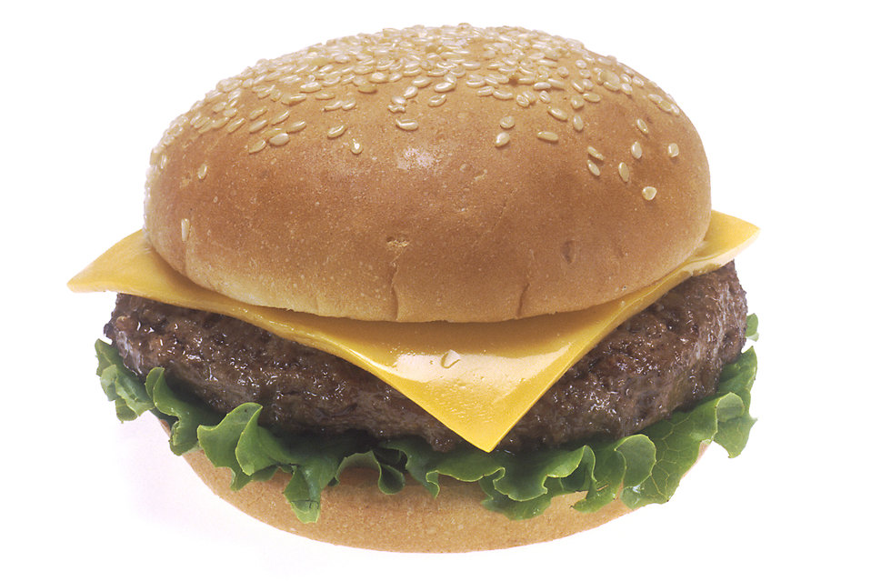 A cheeseburger with a white background : Free Stock Photo