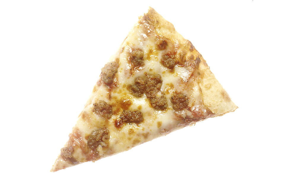 A slice of pizza with sausage and cheese : Free Stock Photo