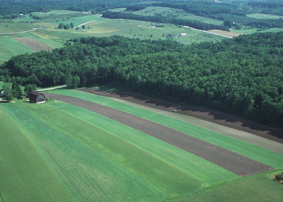 An aerial shot of strip cropping and woodlots on a farm : Free Stock Photo