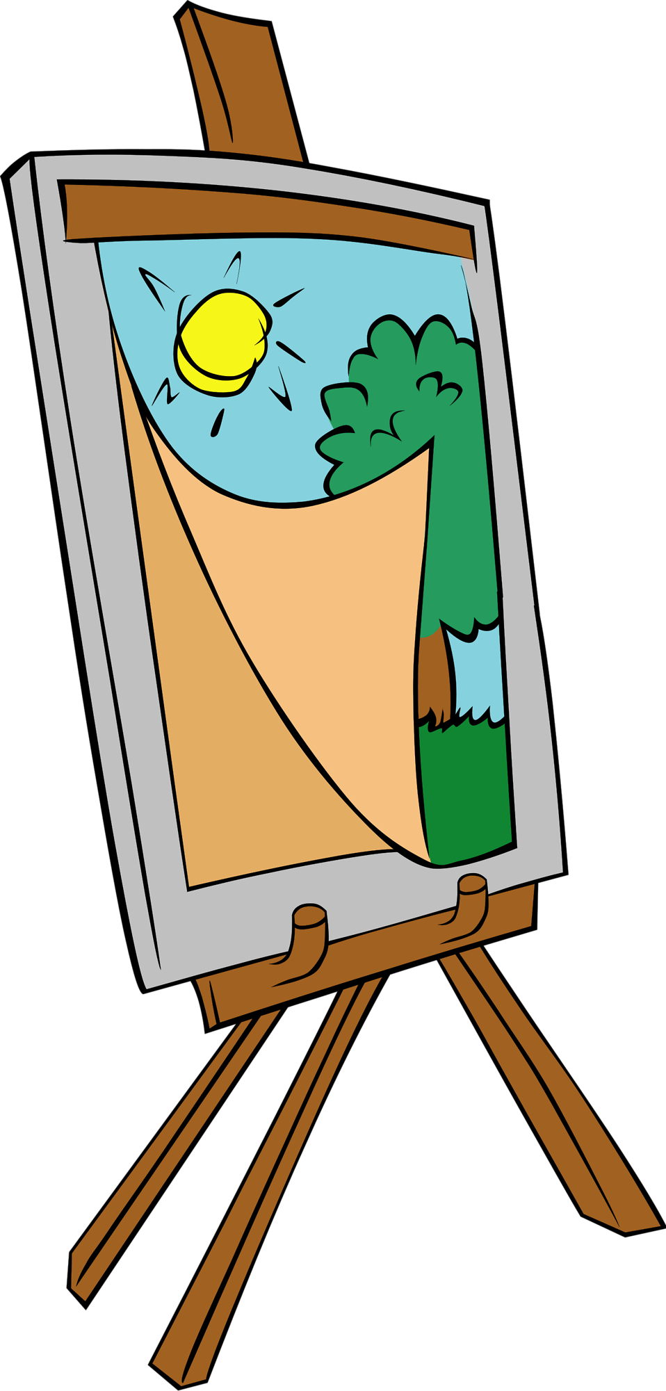 Illustration of a painting on an easel with a transparent background.