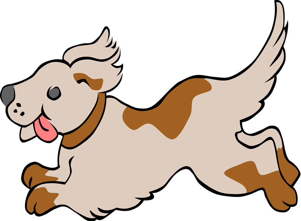 Illustration of a running dog with a transparent background.