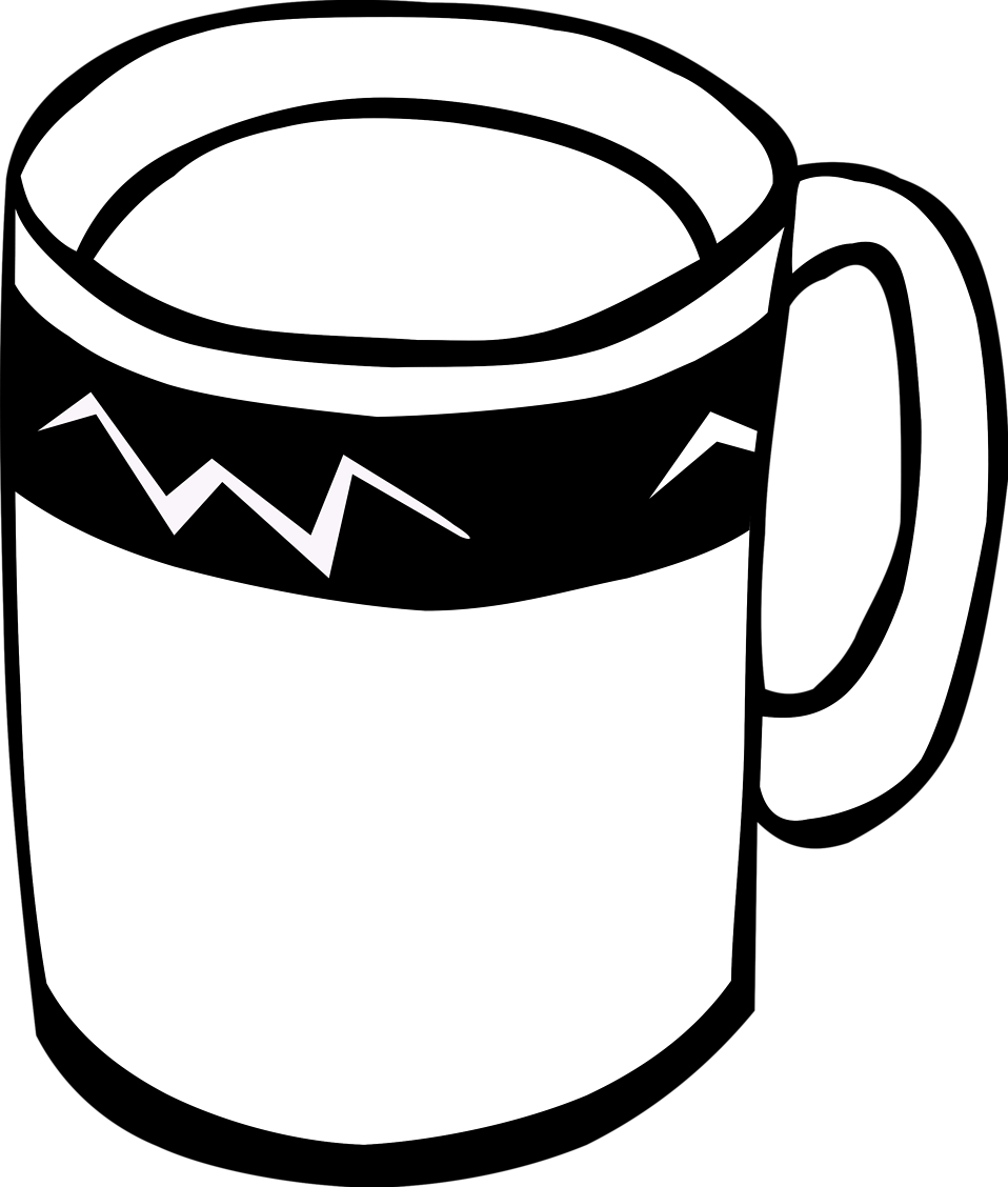 Illustration of a coffee mug with a transparent background.