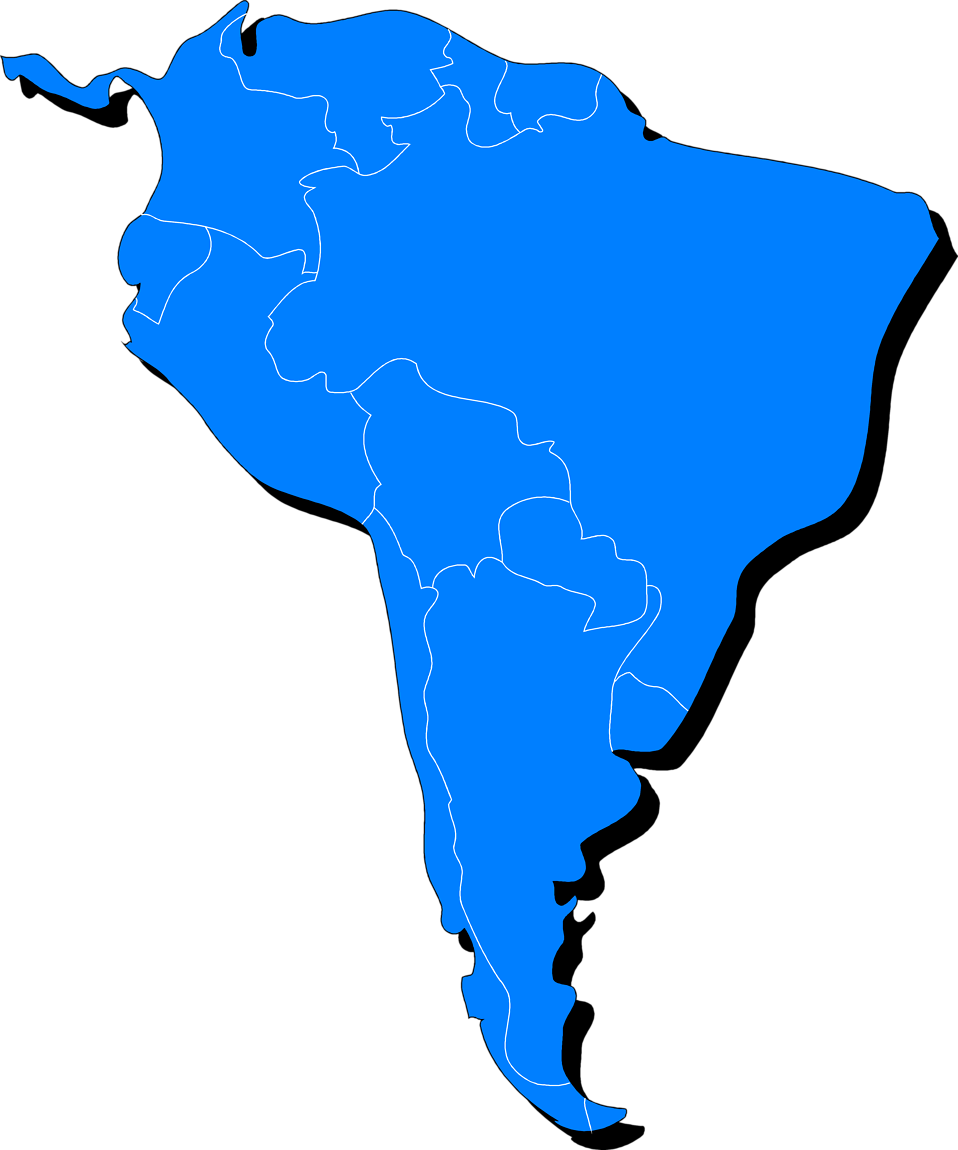 Illustrated map of South America : Free Stock Photo