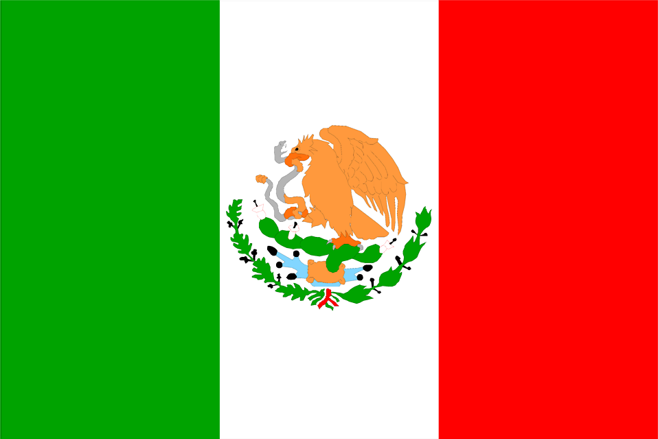 Illustrated flag of Mexico.
