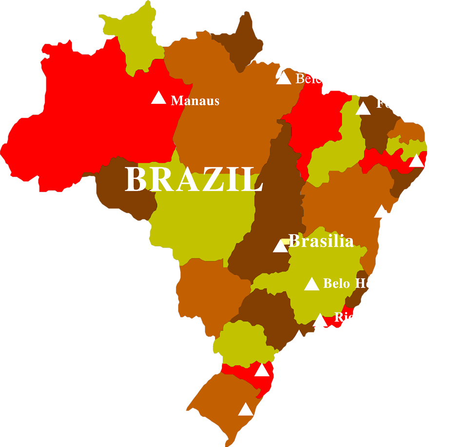 Illustrated map of Brazil : Free Stock Photo