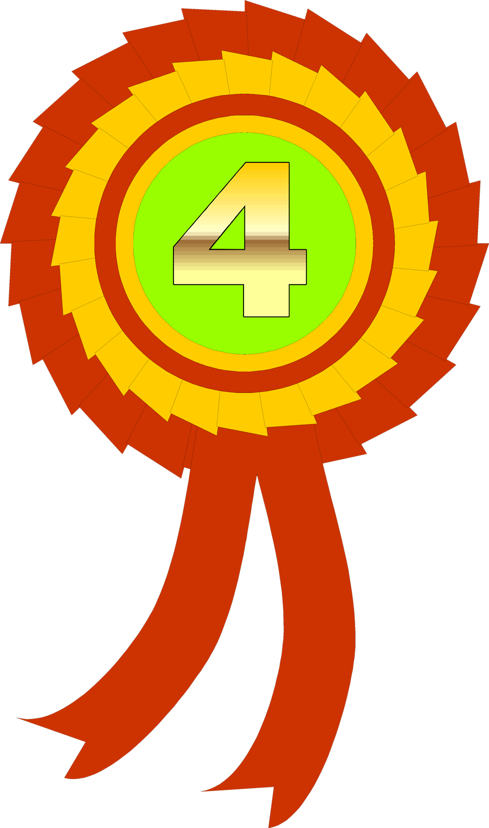 Illustration of a fourth place ribbon : Free Stock Photo