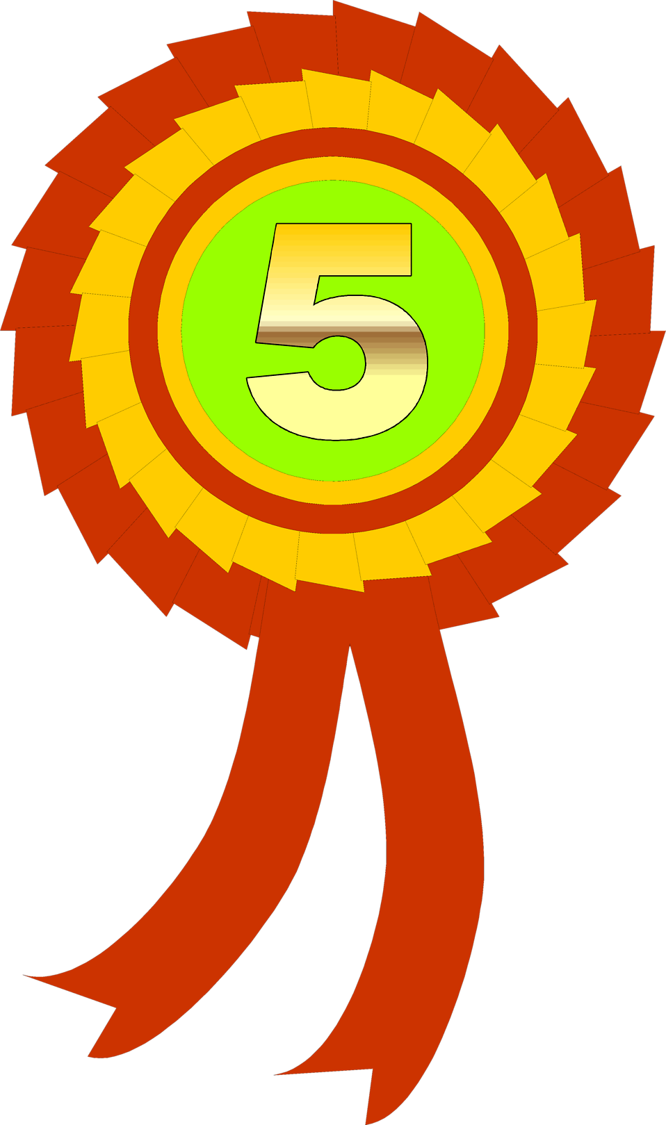 Illustration of a fifth place ribbon : Free Stock Photo