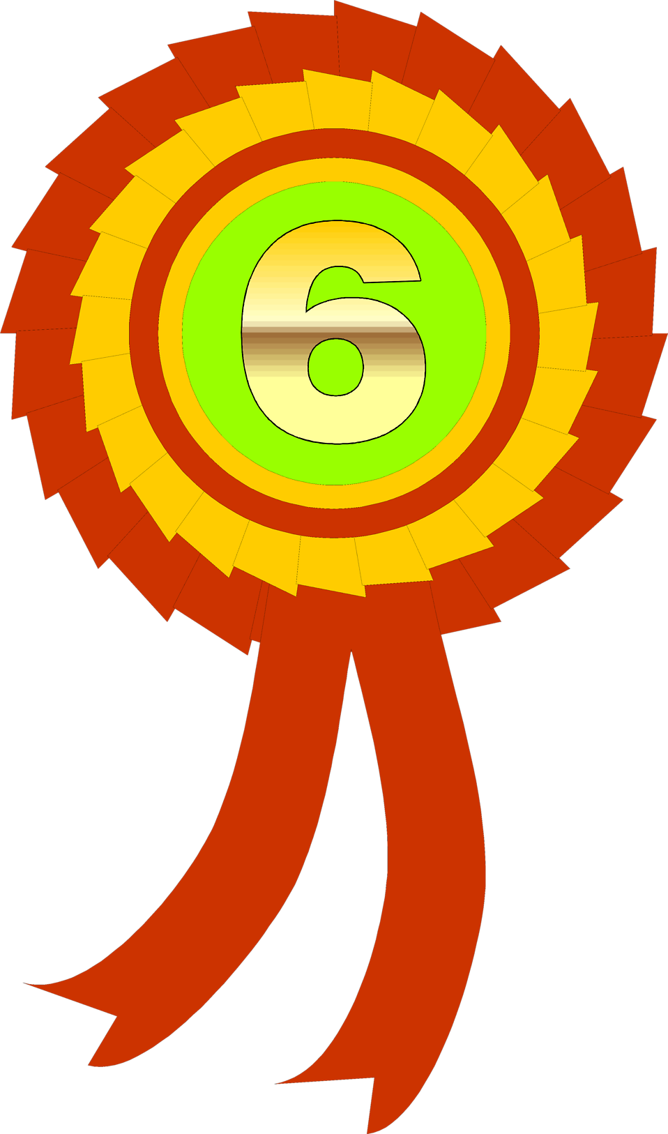 Illustration of a sixth place ribbon : Free Stock Photo