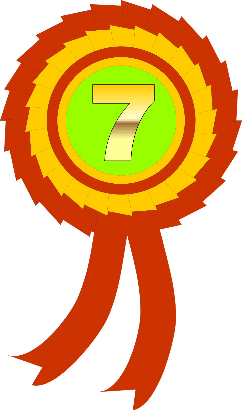 Illustration of a seventh place ribbon : Free Stock Photo
