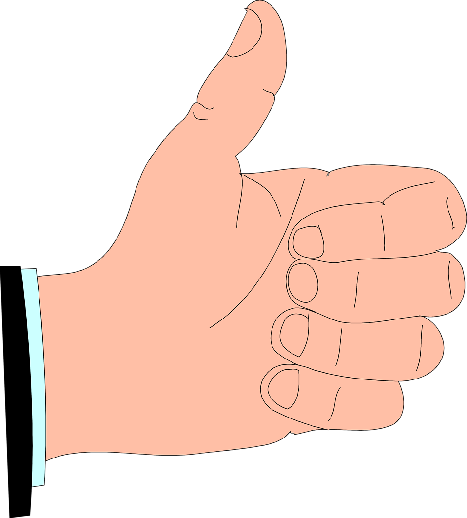 Illustration of a cartoon hand giving a thumbs up : Free Stock Photo