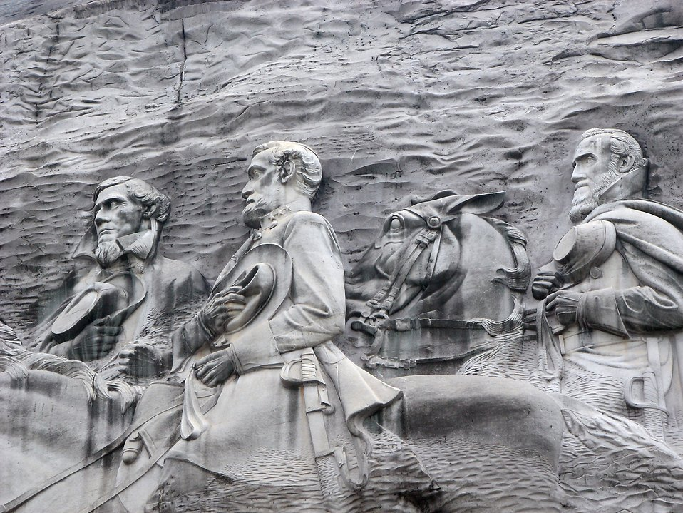 Closeup of Confederate carving at Stone Mountain : Free Stock Photo