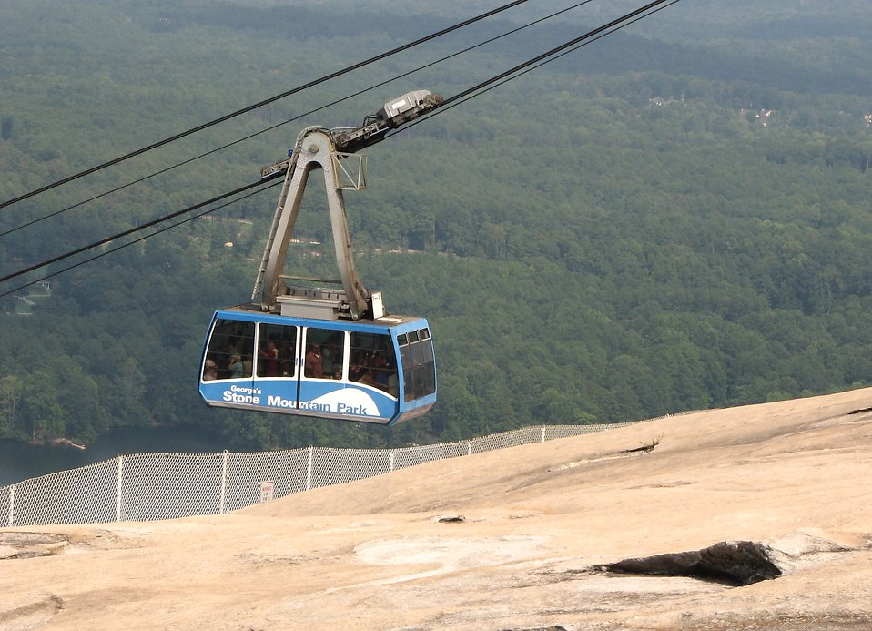 Blue cable car on top of Stone Mountain : Free Stock Photo