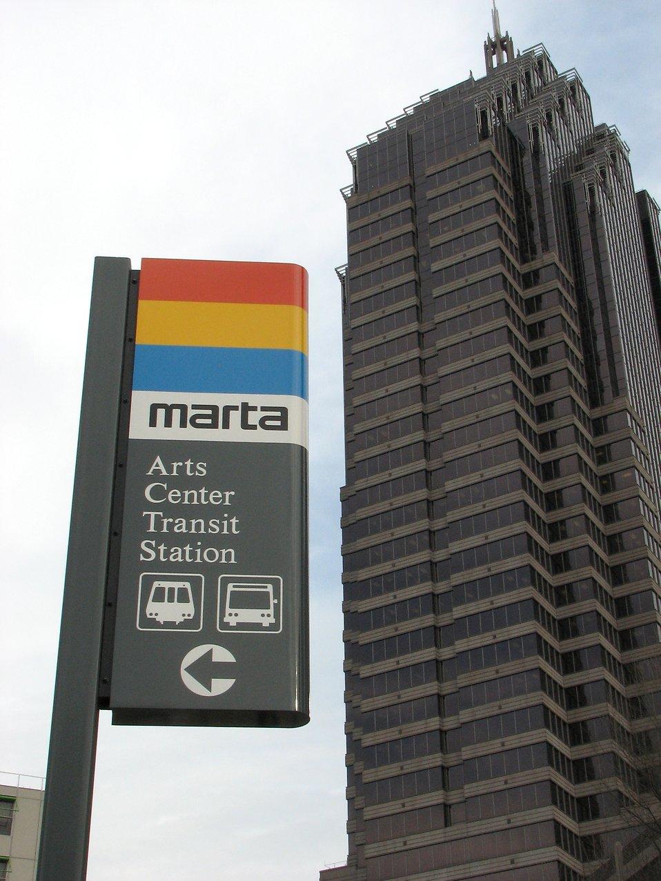 Closeup of train station in downtown Atlanta : Free Stock Photo
