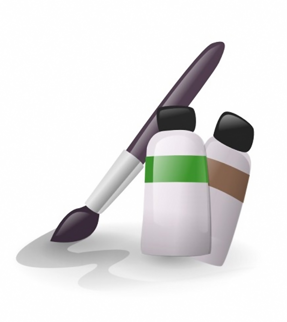 Illustration of a paint brush and paint tubes : Free Stock Photo
