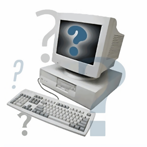 Illustration of a computer surrounded by question marks : Free Stock Photo