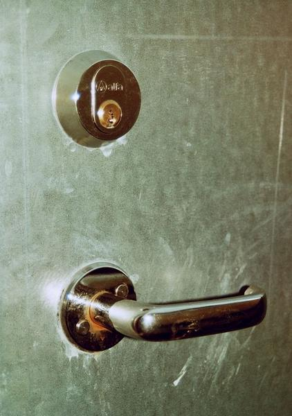 Closeup of a metal safe door : Free Stock Photo