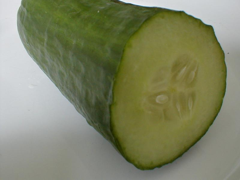 Closeup of a cut cucumber : Free Stock Photo