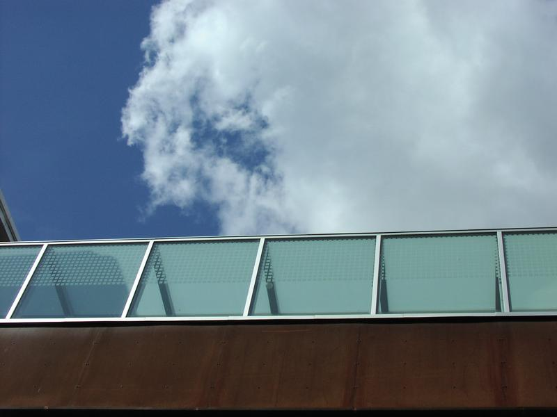 Blue sky by glass on a modern building : Free Stock Photo