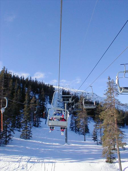 View from a chair lift at a ski mountain : Free Stock Photo