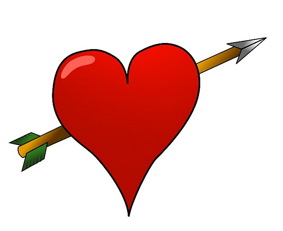 Illustration of a heart with an arrow through it : Free Stock Photo