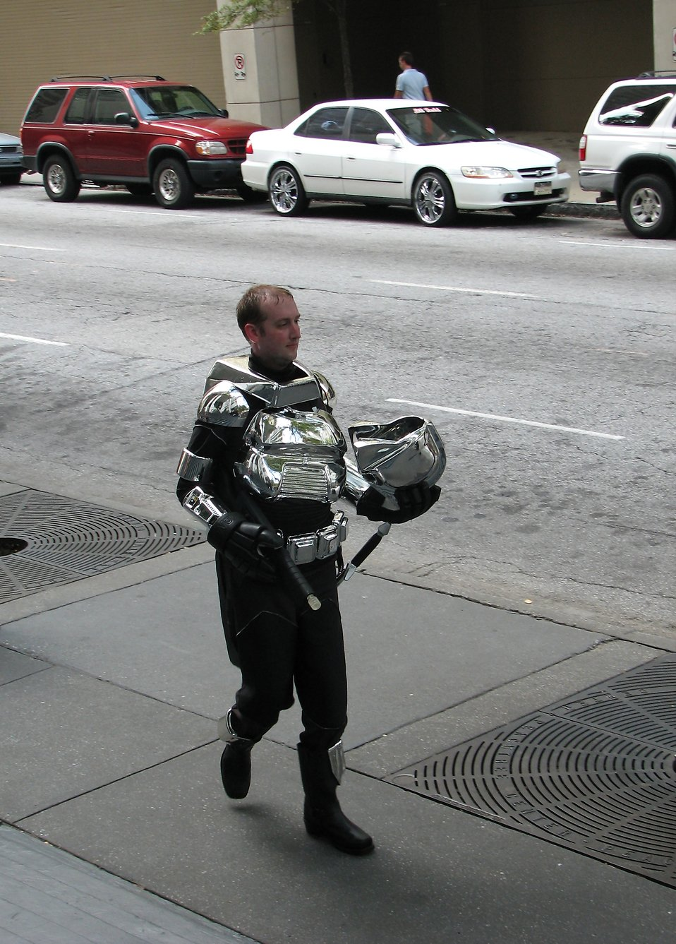 A man in partial robot costume at Dragoncon 2008 in Atlanta, Georgia.