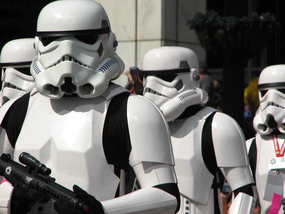 Four stormtrooper costumes in the 2008 Dragoncon parade.