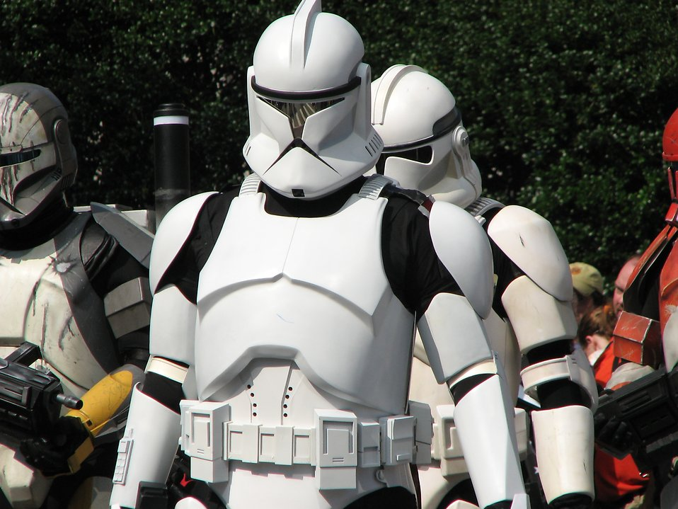 Three types of Clone Trooper costumes in the 2008 Dragoncon parade in Atlanta, Georgia.