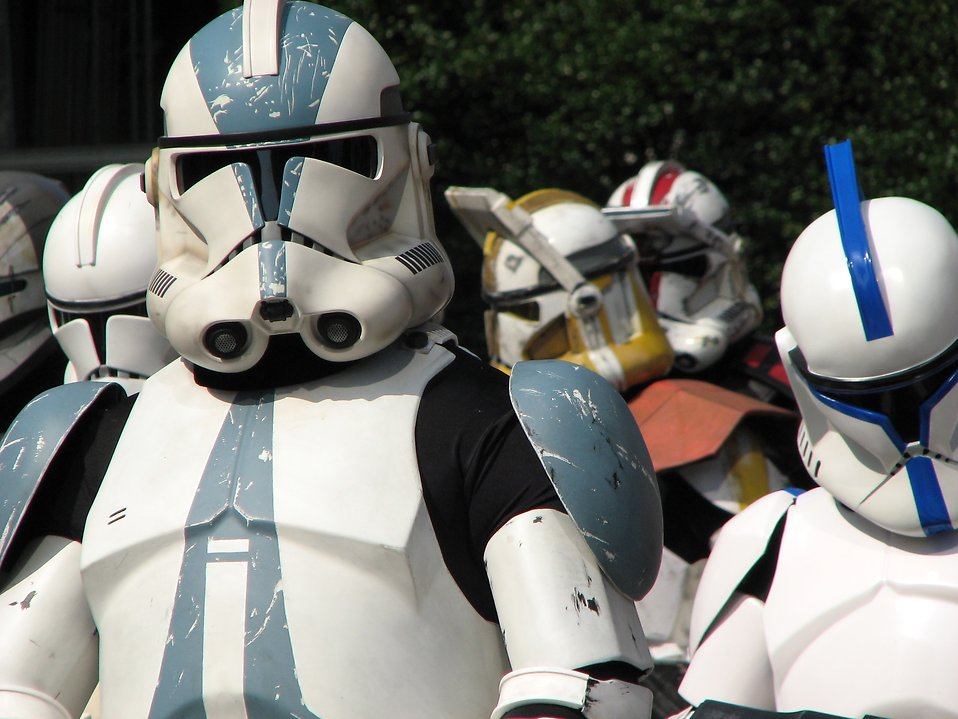 Closeup of several Clone Trooper costumes in the 2008 Dragoncon parade in Atlanta, Georgia.