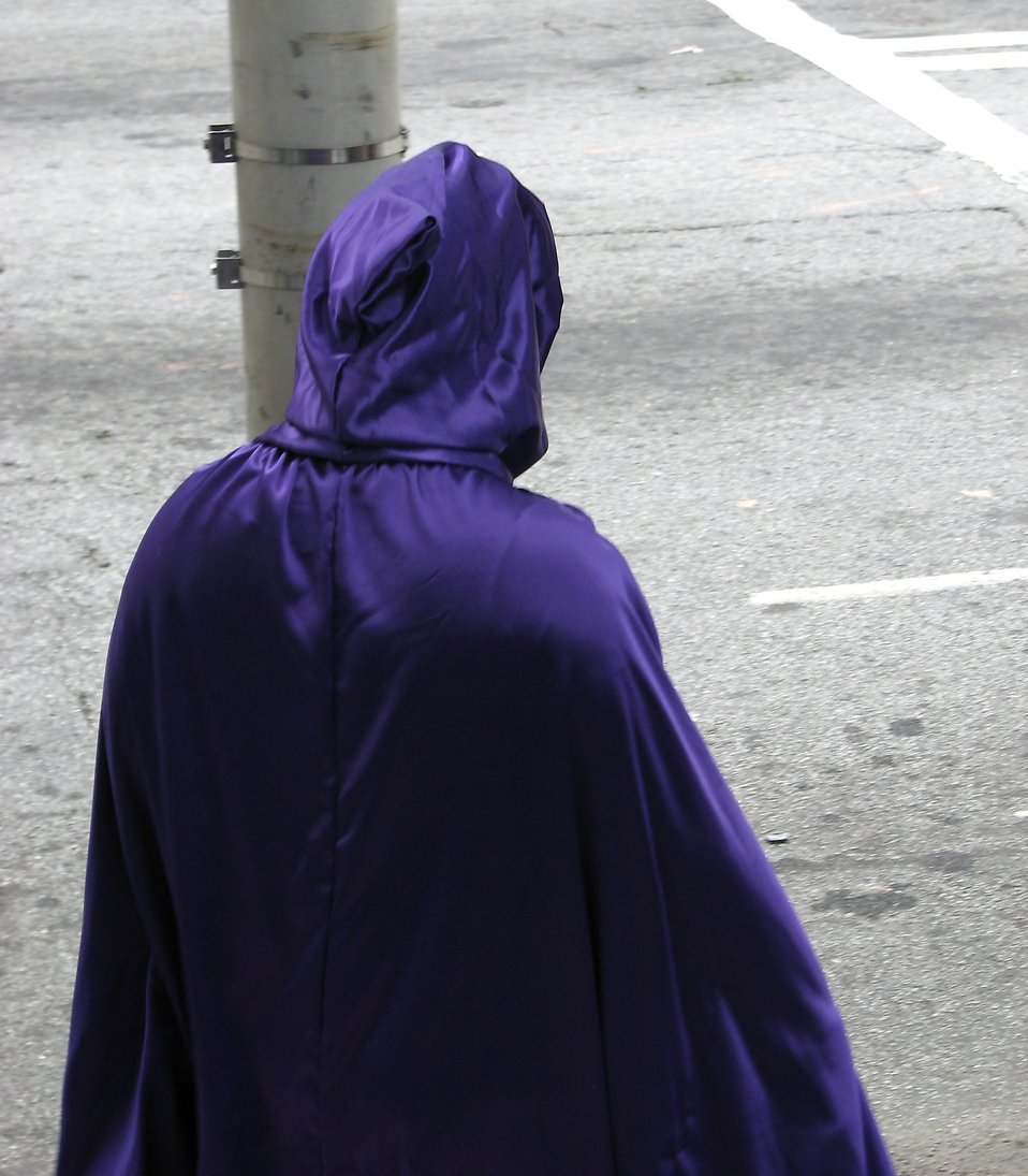 Back of blue cape standing by the street at Dragoncon 2008 : Free Stock Photo