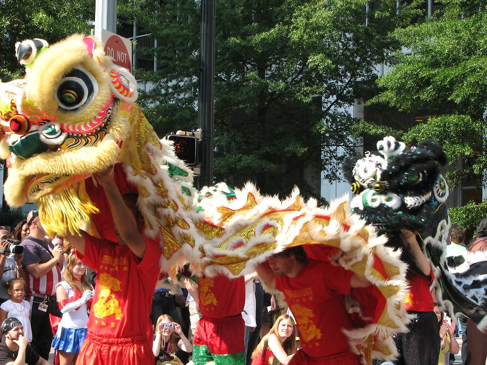 Chinese dragons at the 2008 Dragoncon parade in Atlanta, Georgia.