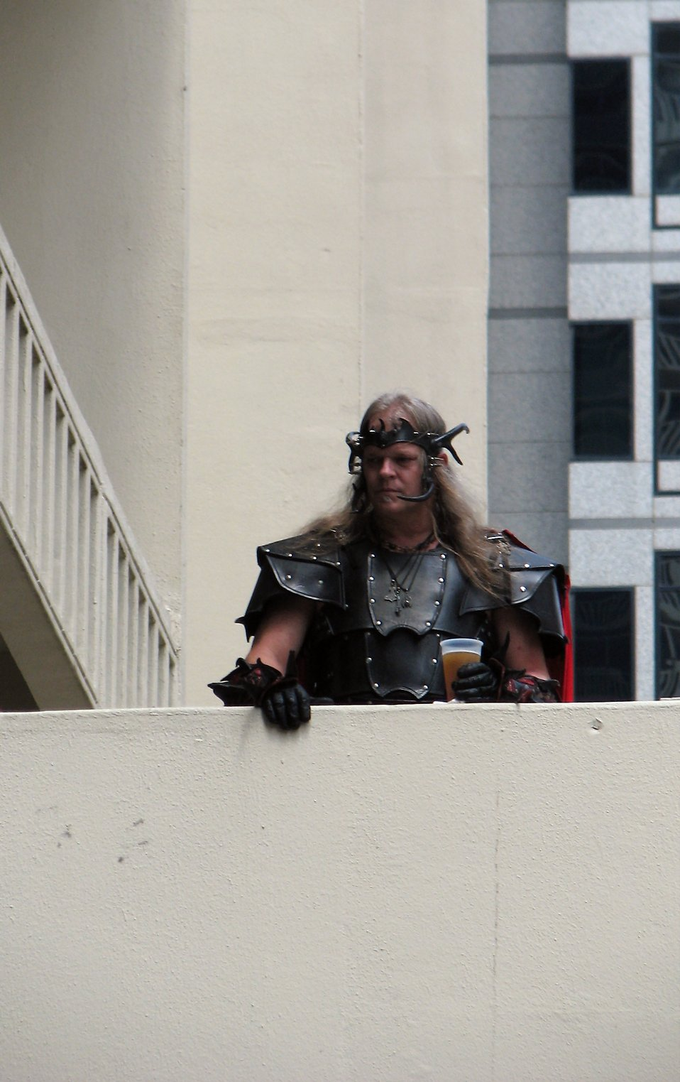 Man in leather costume in balcony at Dragoncon 2008 : Free Stock Photo