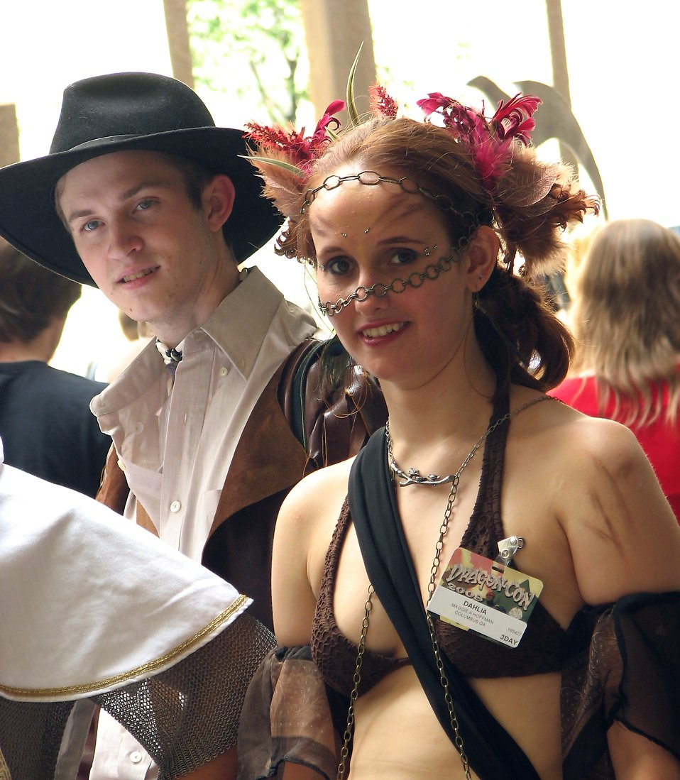 A young man and woman in costumes at Dragoncon 2008 : Free Stock Photo
