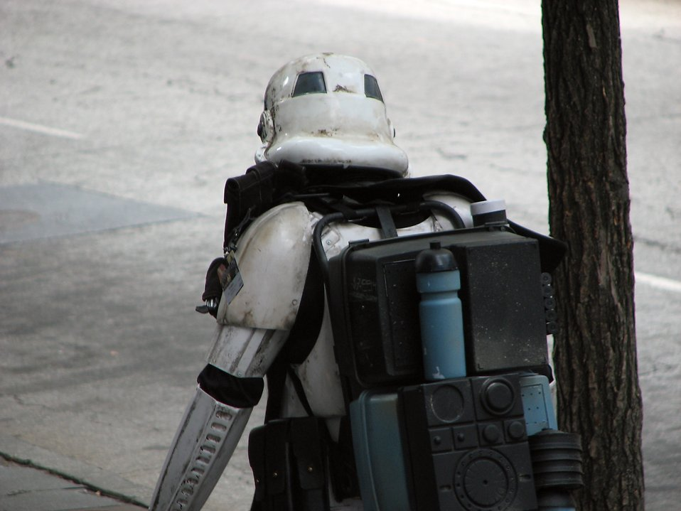 Stormtrooper costume walking down street at Dragoncon 2008 : Free Stock Photo