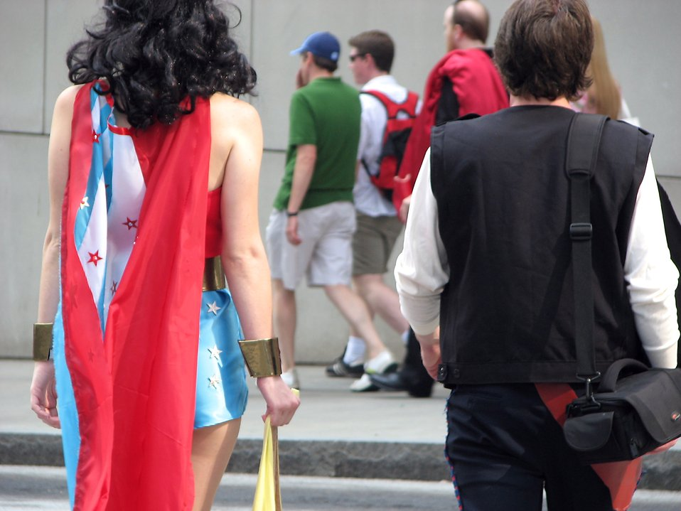 Man and woman in superhero costumes crossing street at Dragoncon 2008 : Free Stock Photo
