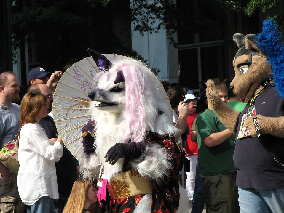 A wolf and other animal costumes in the 2008 Dragoncon parade : Free Stock Photo