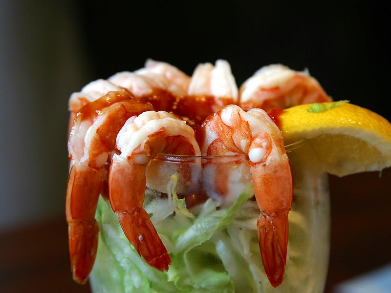 Closeup of a shrimp cocktail.