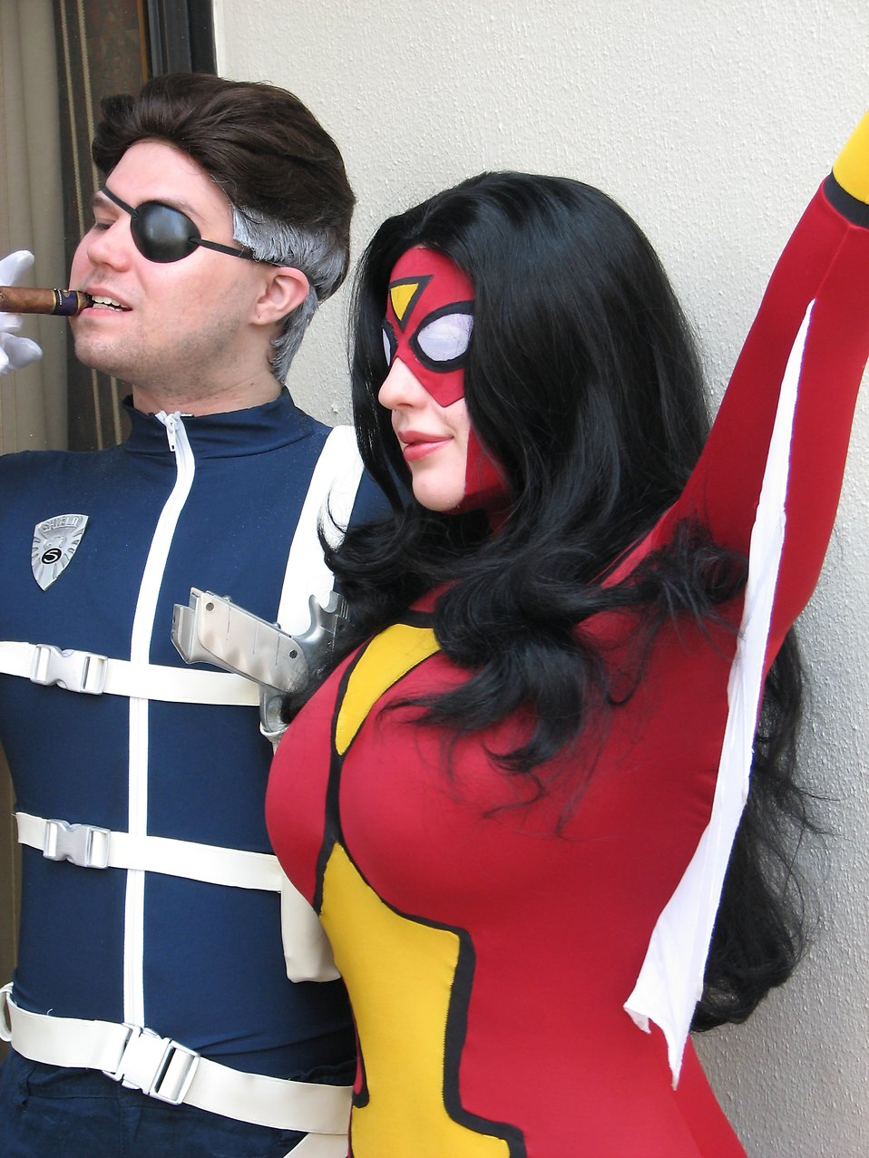 Beautiful woman and man posing in costumes at Dragoncon 2008 : Free Stock Photo