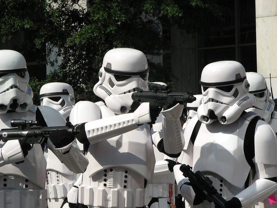 A group of men in Stormtrooper costumes at Dragoncon 2008 in Atlanta, Georgia.