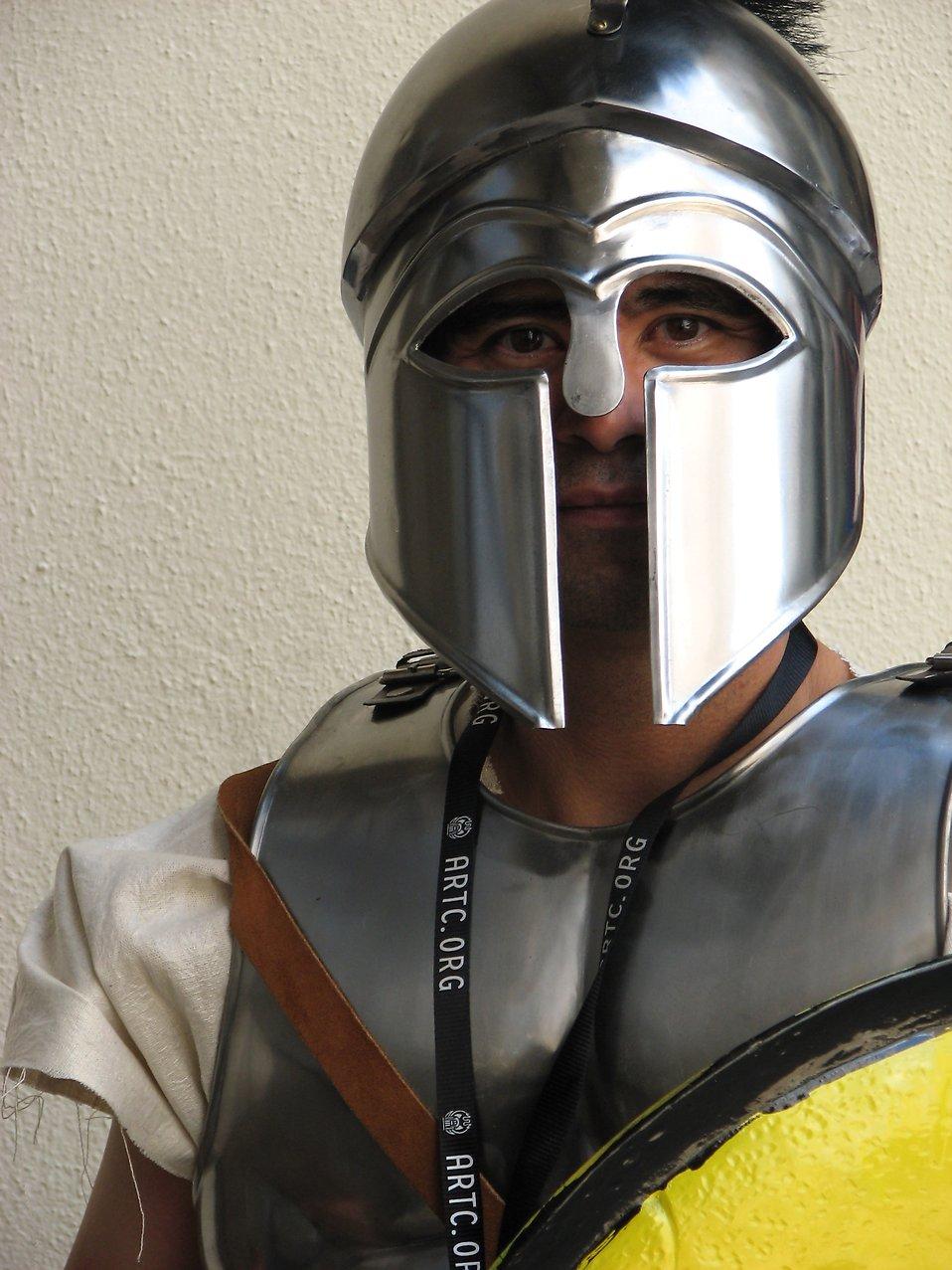Closeup of man in Spartan armor at Dragoncon 2008 : Free Stock Photo