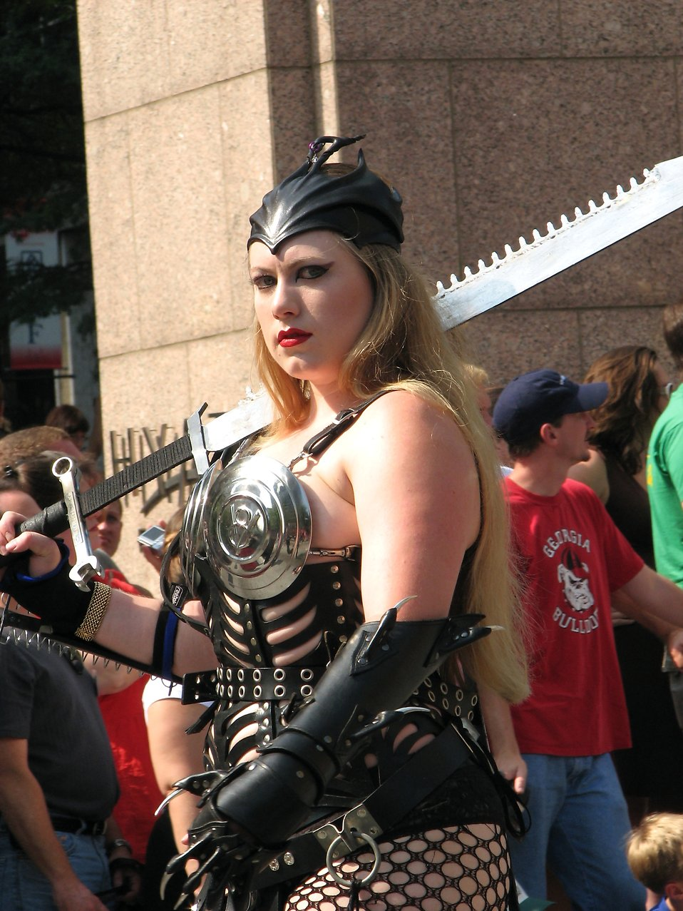 Tall blonde woman in barbarian costume in the 2008 Dragoncon parade : Free Stock Photo