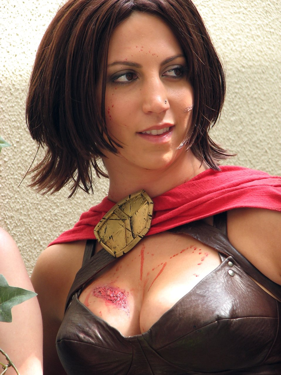 Closeup portrait of a beautiful girl in warrior costume at Dragoncon 2008 : Free Stock Photo