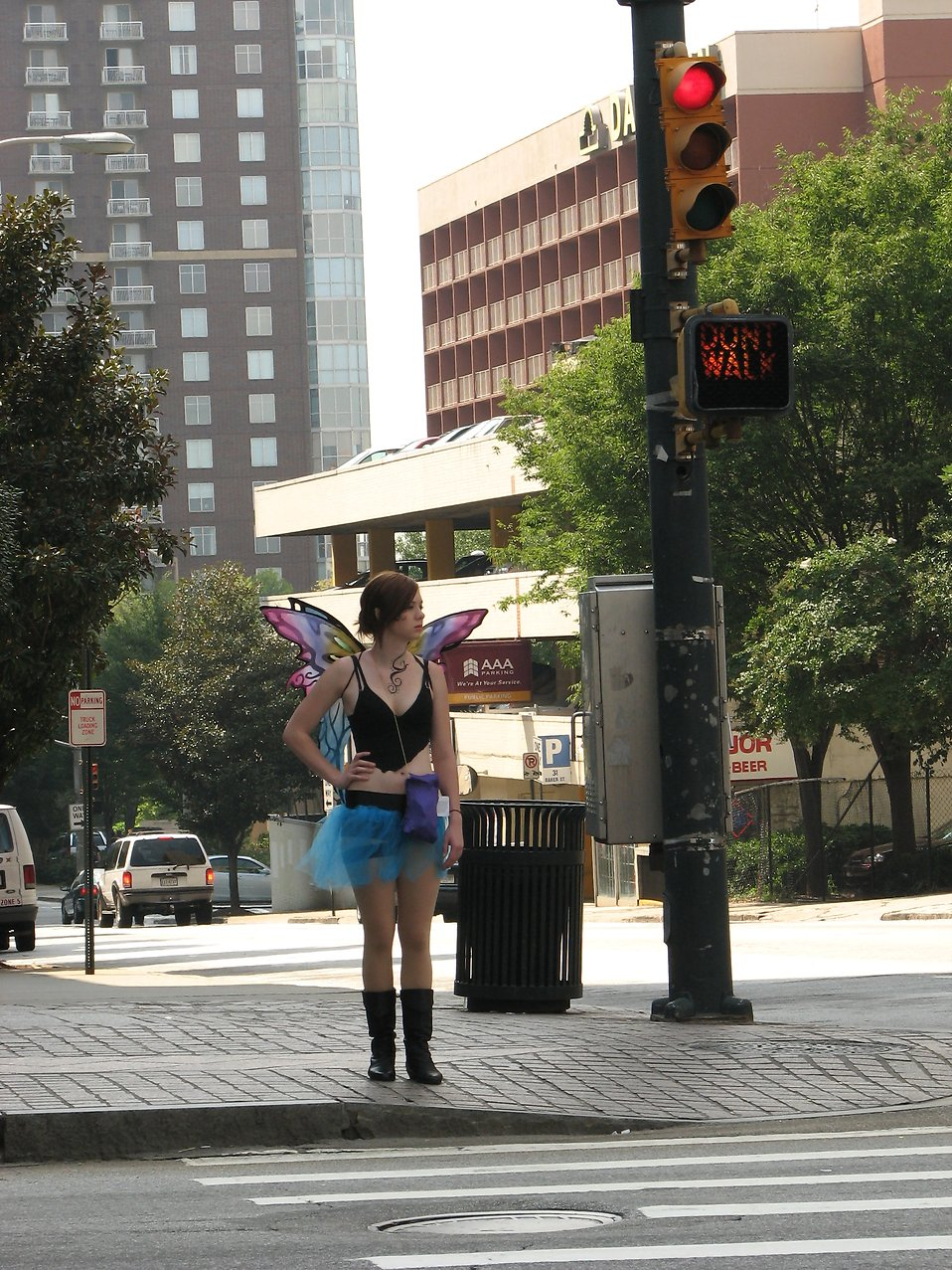 Girl in fairy costume waiting to cross the street at Dragoncon 2008 : Free Stock Photo