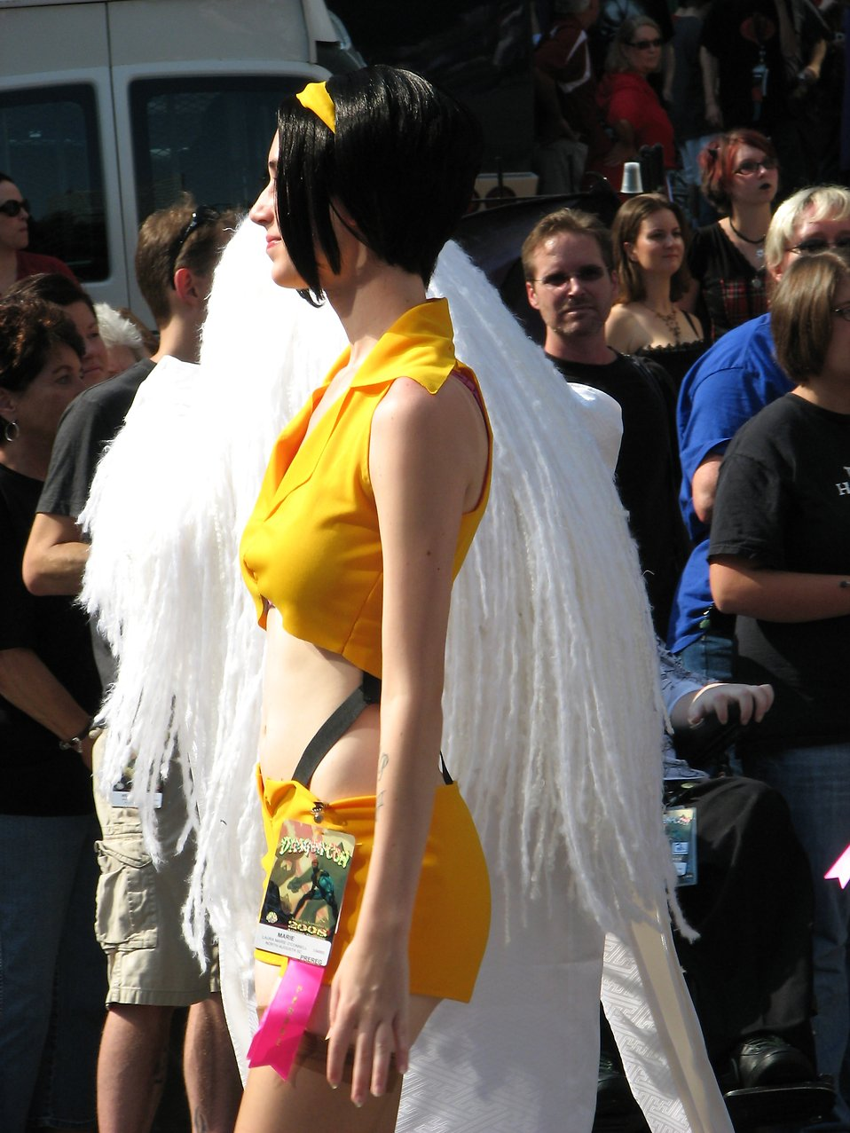 Beautiful girl in an anime costume in the 2008 Dragoncon parade : Free Stock Photo