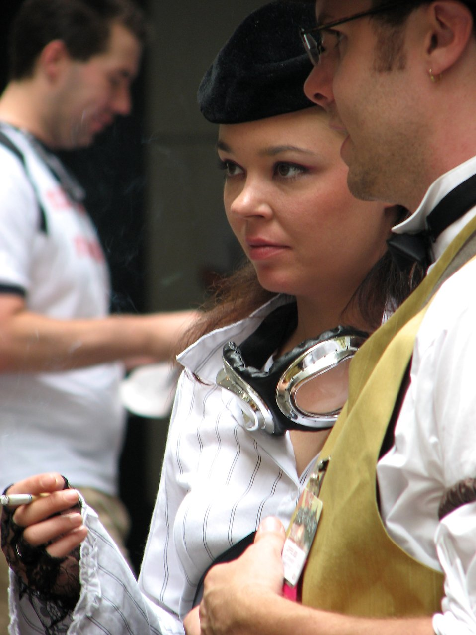 Closeup of a beautiful woman and man in costumes at Dragoncon 2008 : Free Stock Photo