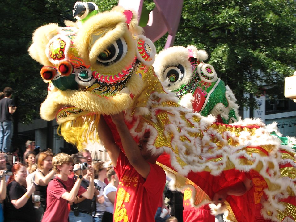 Chinese parade dragons in the 2008 Dragoncon parade : Free Stock Photo