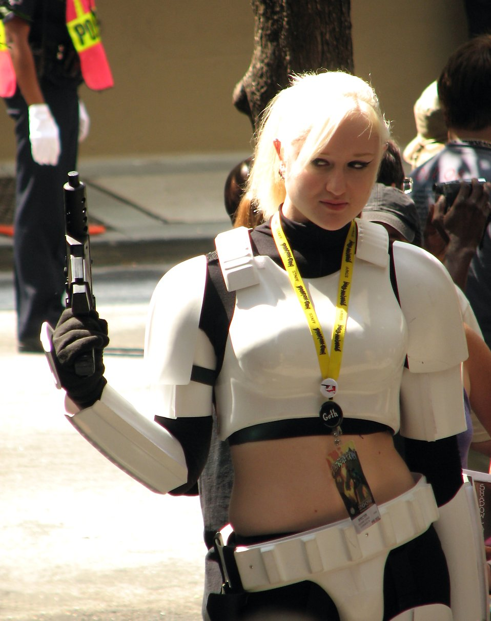 Beautiful blonde in a Stormtrooper costume at Dragoncon 2008 : Free Stock Photo
