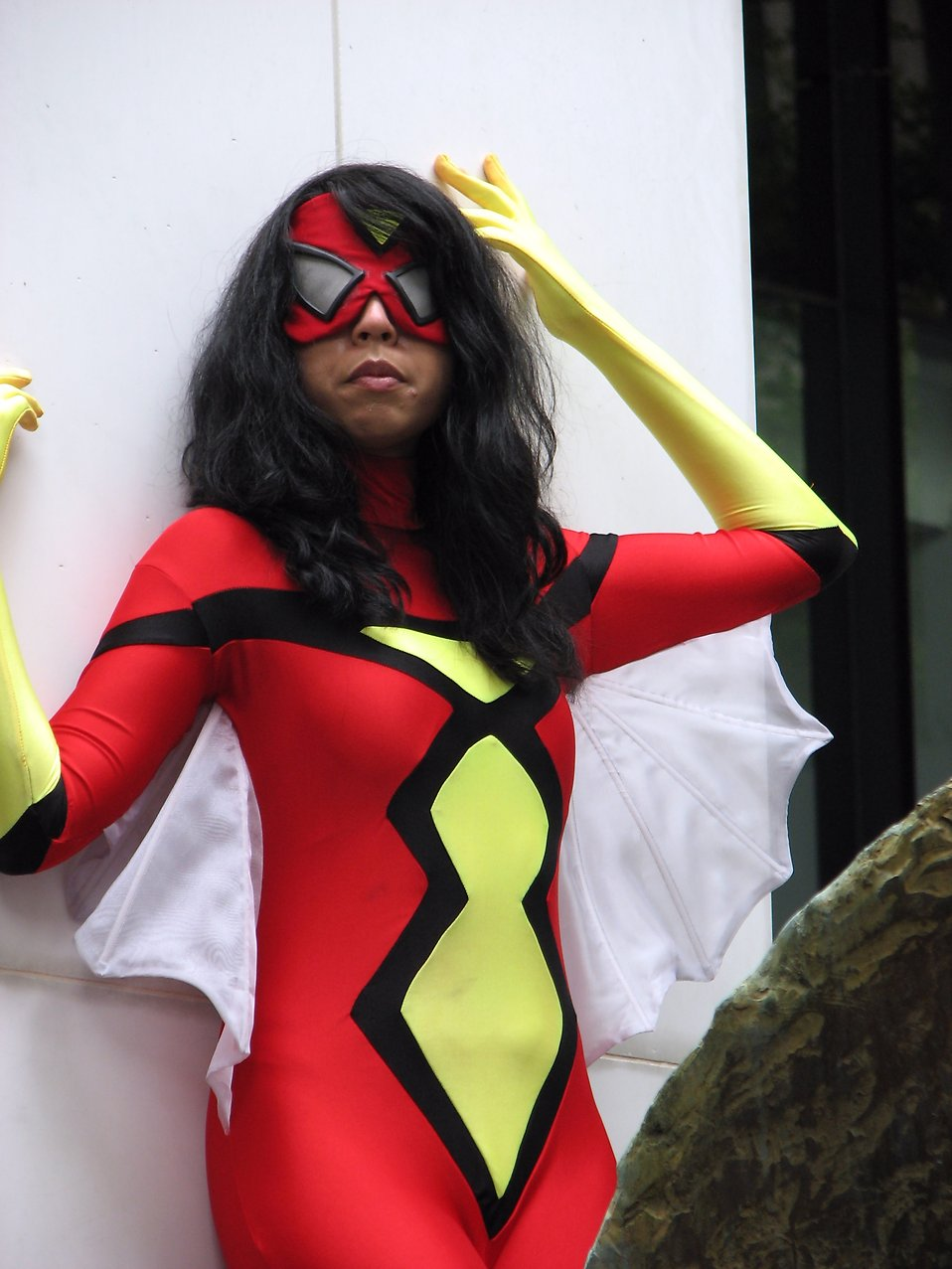 Beautiful black girl posing in a superhero costume at Dragoncon 2008 : Free Stock Photo