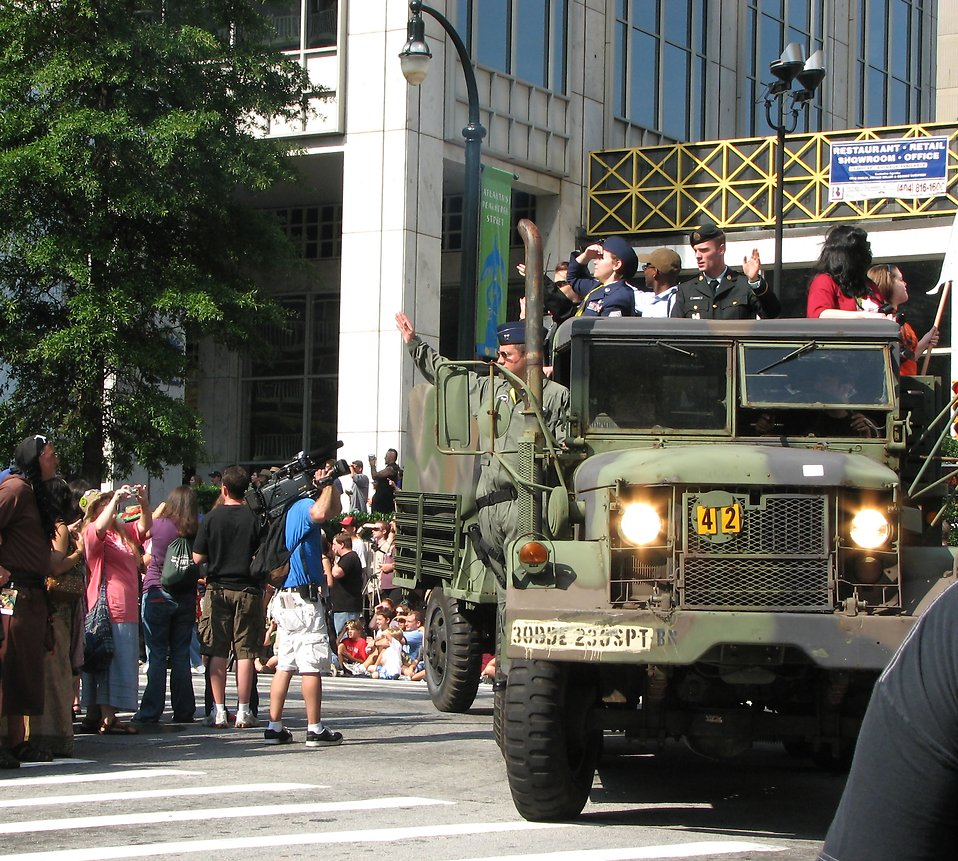 Military truck with soldiers in the 2008 Dragoncon parade : Free Stock Photo