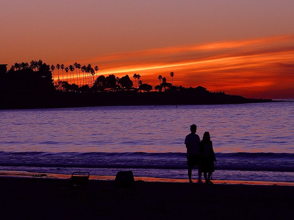 A couple on the beach during sunset : Free Stock Photo